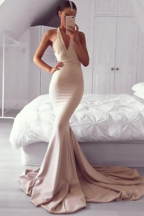 Backless Champagne Mermaid Prom Dress, V Neck Satin Formal Gown With Open Back Evening Dress