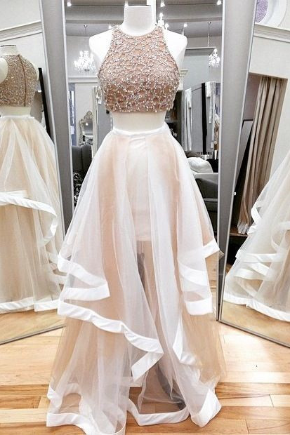 Champagne Beading Tulle Long Evening Dress, Formal Women Dress,Wedding Party Dress,Long Prom Dress,Two Pieces Dress
