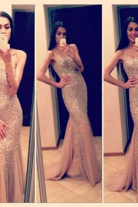 Hot Sale 2016 Prom Dress,New Style Prom Dress,Sexy Mermaid Prom Dresses ,Champagne Prom Dresses,Long Prom Dresses ,Formal Dresses,