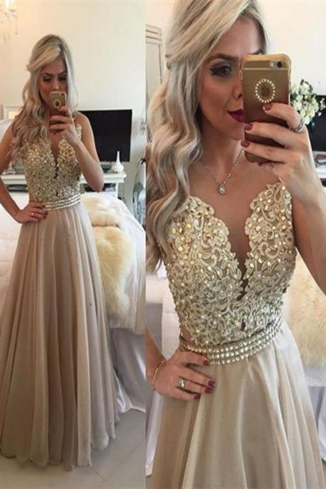2017 Hot Sale Champagne Prom Dress,A Line Round Neck Sleeveless Long Champagne Prom Dress,Champagne Formal Dress,Champagne Evening Dresses,Open Back Evening Gowns,
