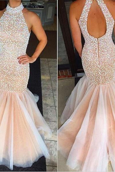 Champagne Prom Dresses,Mermaid Prom Gowns,Tulle Prom Dresses,Beading Prom Dresses,Mermaid Prom Gown,2016 Prom Dress,Backless Evening Gonw With Beading For Teens