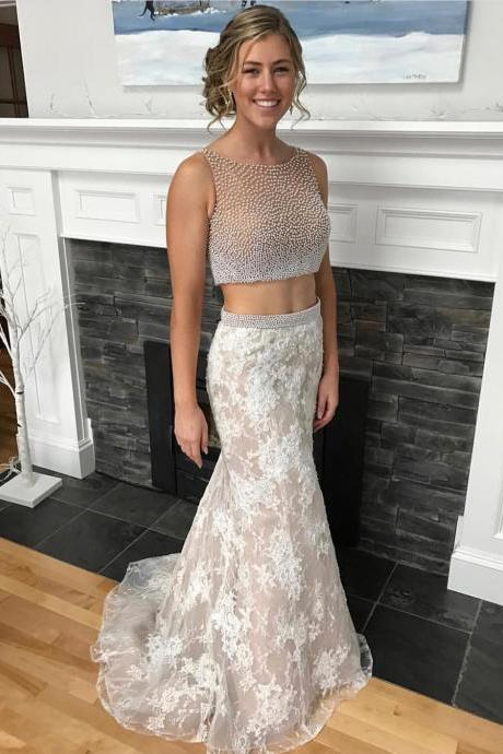 Champagne Prom Dress,Two Piece Mermaid Lace Prom Dresses,Pearls Beaded Bodice Formal Dress