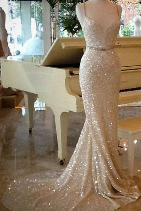 2017 Gorgeous Champagne Prom Dresses,Sexy Strapless Mermaid Prom Dress,Sequins Prom Dress,Formal Prom Dress ,Long Evening Dress,