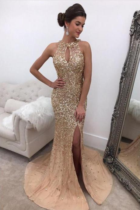 Halter Mermaid Gowns,Champagne Prom Dress,Mermaid Evening Gowns,Luxury Prom Dress,Rhinestone Sexy Prom Dress,