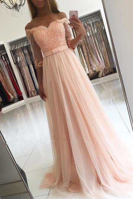 Cheap Prom Dresses With, Sleeves Bridesmaid Dress,off Shoulder Evening Dress,Long Formal Gowns