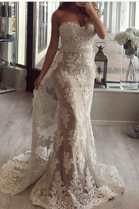 Cheap Prom Dress,Lace Appliques Prom Dress, Sweetheart Mermaid Evening Dress,Champagne Formal Dress,Tulle Prom Gowns,