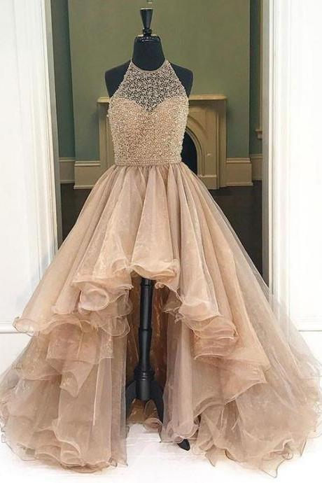 Champagne high-low prom dresses, evening dress,A-line Prom Dresses,Strapless Prom DressesLong Evening Dresses
