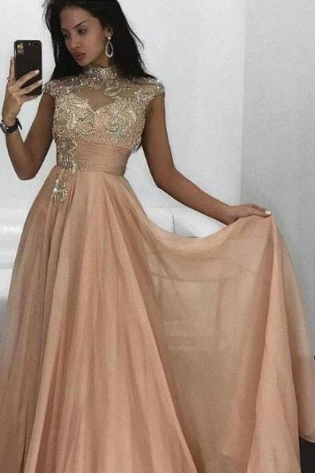 Classic Champagne Round Neck Chiffon Long Prom Dress, Evening Dress ,Gorgeous Evening Dress,Formal Gowns,