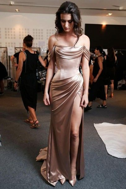 Sexy Prom Dresses New Arrival Prom Dress,slit Prom Gown,Champagne Formal Dress Party Gowns