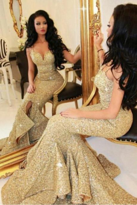 Champagne Mermaid Sweetheart Sweep Train Sequin Prom Dress with Ruffles Evening Dress