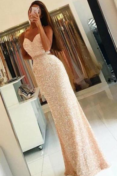 Mermaid Square Criss-Cross Straps Champagne Sequined Prom Dress with Beading Cheap Evening Dress,