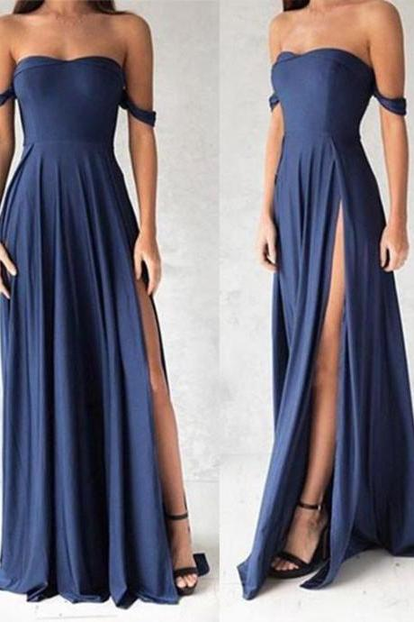 Navy Blue Shoulder Long Prom Dress, Evening Dresses,Slit Bridesmaid Dresses,Graduation Dress,Cheap Prom Dress,