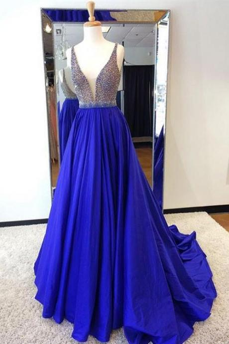 Unique Custom Made Royal Blue Beading Long Prom Dress, Blue Evening Dress,Sexy Prom Dress,A-Line Prom Dresses