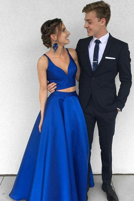 Stylish Blue Two Pieces Long Prom Dress, Blue Evening Dress, Prom Dress,A-Line Prom Dresses