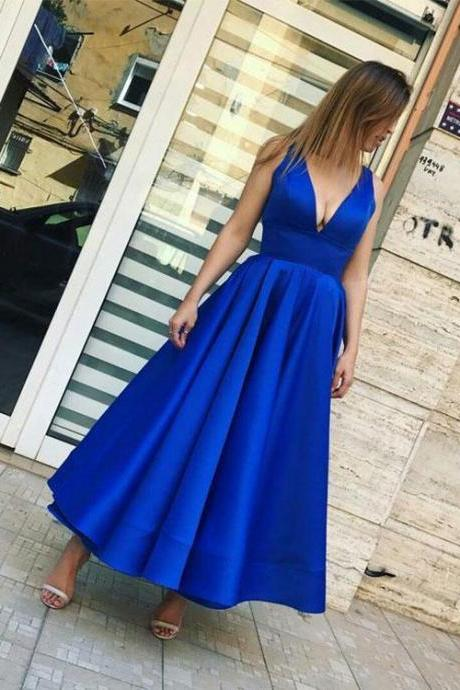 Simple Royal Blue V Neck Prom Dress, Tea Length Long Prom Dress, Blue Evening Dress, Prom Dress,A-Line Prom Dresses