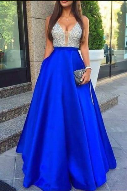 Elegant Prom Dress,Royal Blue Prom Dress,Long Prom Dresses,Evening Formal Dress,Women Dress