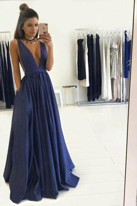 2017 Hot sale Sexy Dark Royal Blue Deep V-Neck Long Prom dresses, Evening Dresses, Prom Dress