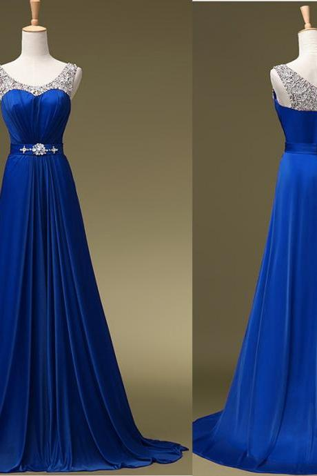 Chic A-Line Prom Dresses ,Royal Blue Prom Dresses,Royal Blue Evening Gowns,Beaded Party Dresses,Evening Gowns,Formal Dress For Teen
