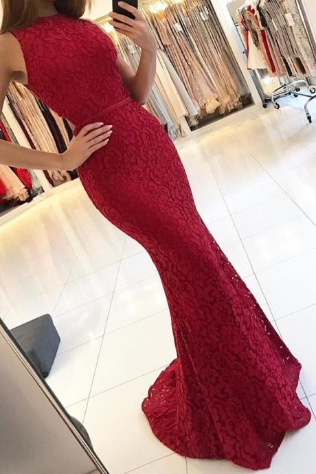 2018 Nice Lace Evening Dress,Mermaid Evening Gowns,Mermaid Prom Dress,Long Formal Dress,Red Prom Dress