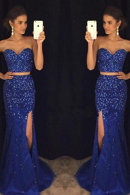Romantic Royal Blue Two Piece Prom Dresses,Beaded Prom Dresses,Sweetheart Forml Evening Dresses,Long Party Dresses
