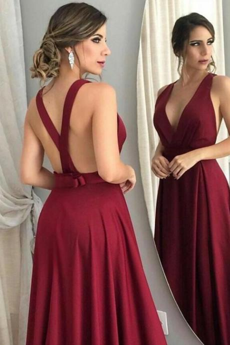Hot Red Bridesmaid Dresses,Open Back Prom Dress,Long Formal Dress,Red Prom Dress,Cheap Evening dress,