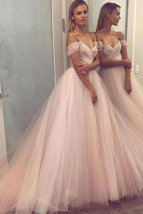 Charming A Line off Shoulder Tulle Long Prom Dress, Evening Dress,Formal Gowns,Graduation Dress,Cheap Prom Dress