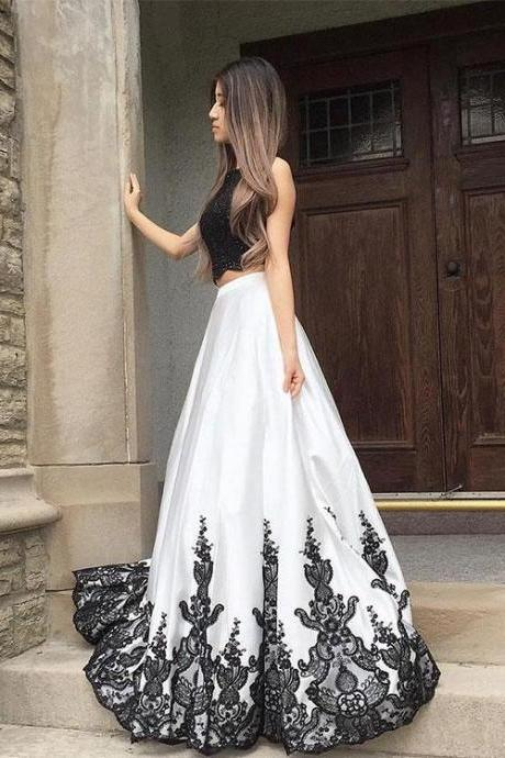 Petite Black And White Lace Long Prom Dress, Two Pieces Evening Dress A-Line Prom Dresses,Graduation Dress,