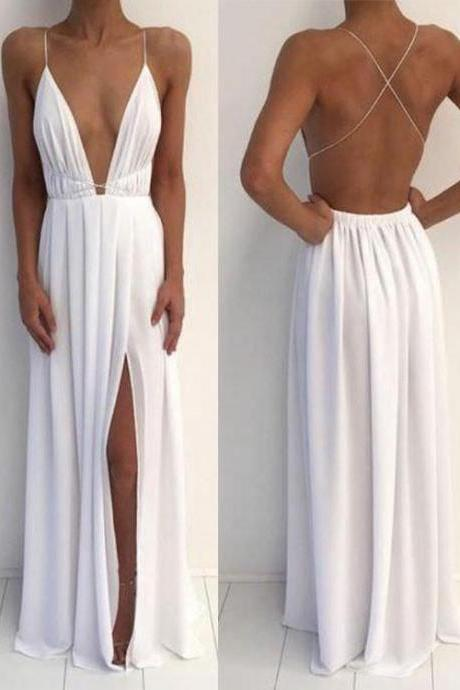 Sexy Prom Dress,White V Neck Backless Prom dress, White Evening Dress,Slit Prom Dresses,Long Formal Gowns,Chiffon Prom Dresses,