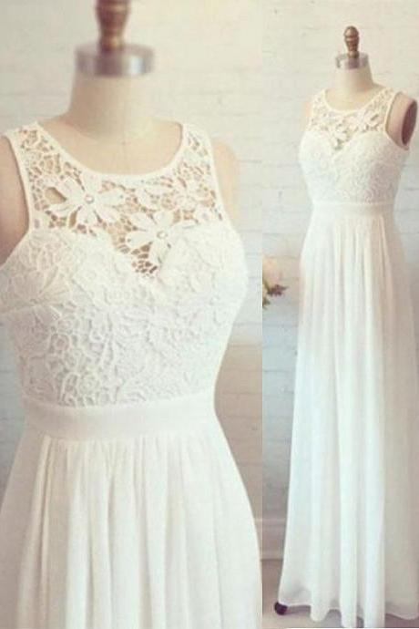 White A Line Chiffon Lace Long Prom Dress, Lace Evening Dress, Prom Dresses,Long Formal Gowns,Chiffon Prom Dresses