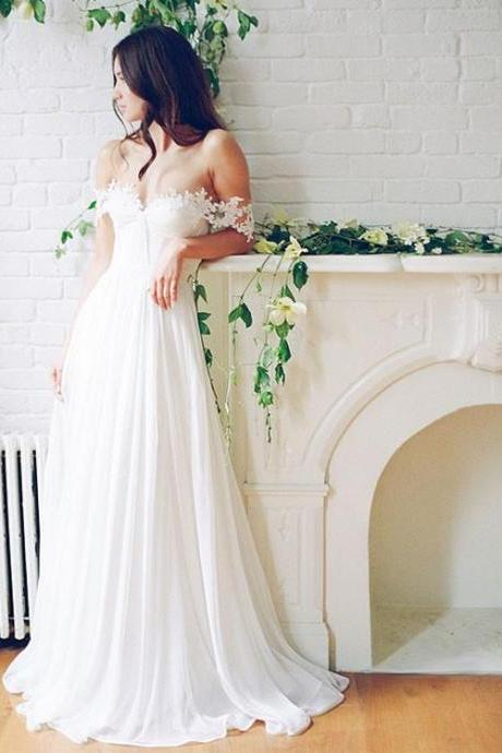 Sexy White A Line Lace off Shoulder Long Prom Dress, Wedding Dress, White Prom Dress,Long Formal Gowns,Prom Dresses