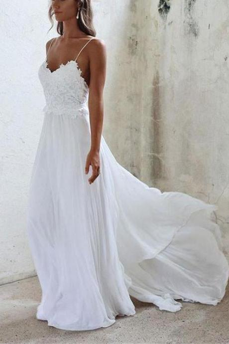 White A line Lace Backless Long Prom Dress, Lace Evening Dress,Long Formal Gowns,Prom Dresses,