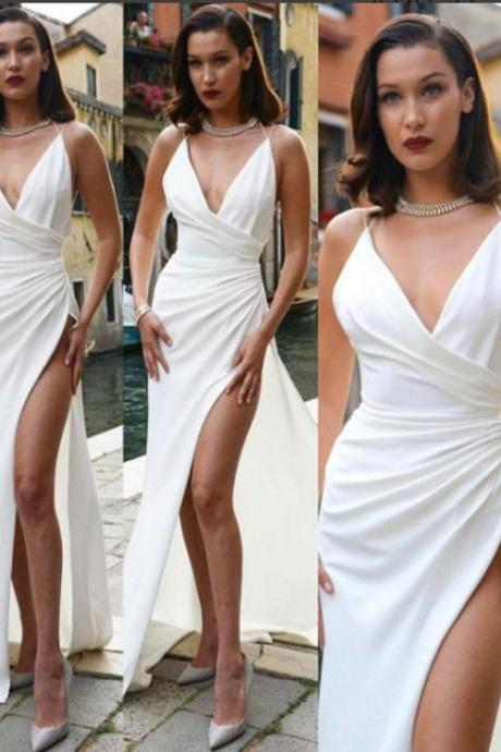 Sexy White V Neck Long Prom Dress, White Evening Dress,Long Formal Gowns,Prom Dresses
