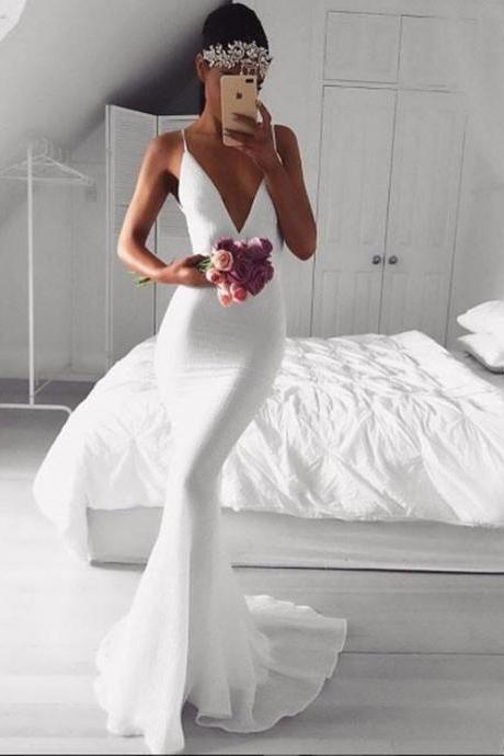 Simple White V Neck Mermaid Long Prom Dress, White Evening Dress,Long Formal Gowns,Prom Dresses