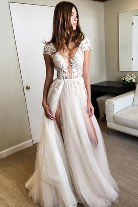 Stylish A Line Tulle Lace Long Prom Dresses With Sleeves, Formal Dresses,Long Formal Gowns,Prom Dresses