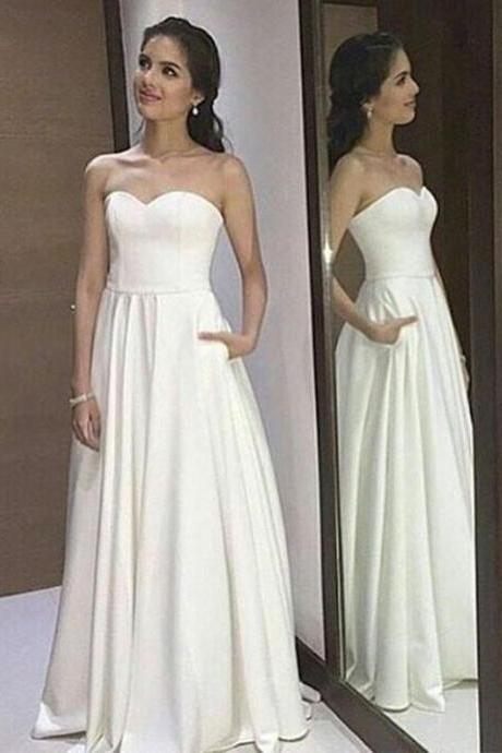 Simple White Sweetheart Neck Long Prom Dress, White Evenig Dress, Formal Dresses,Long Formal Gowns,Prom Dresses