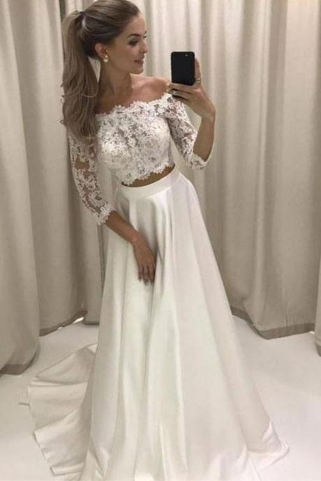 Stylish White Lace Two Pieces Long Prom Dress, White Evening Dress,Long Formal Gowns,Prom Dresses