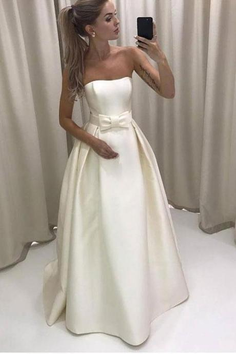 Simple White Strapless A Line Long Prom Dress, White Evening Dress,Long Formal Gowns,Prom Dresses