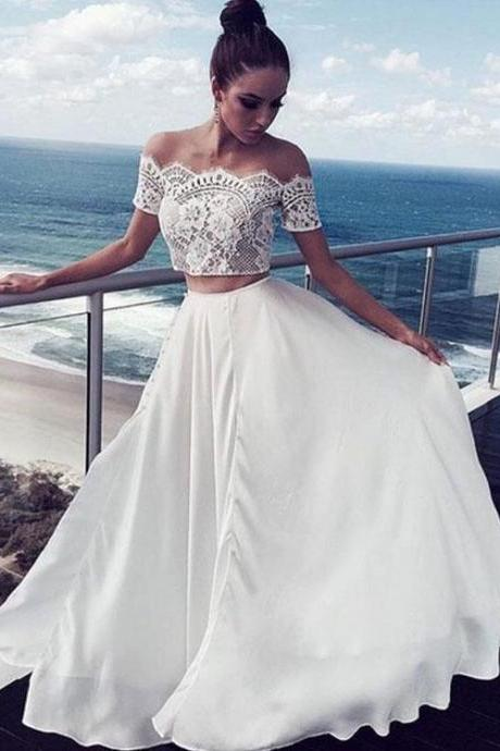 Charming Long Formal Gowns,Prom Dresses,White Lace Two Pieces Long Prom Dress, White Evening Dress,A-Line Prom Dresses
