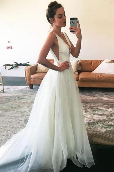 White V Neck Tulle Long Prom Dress, White Evening Dress,Long Formal Gowns,Prom Dresses