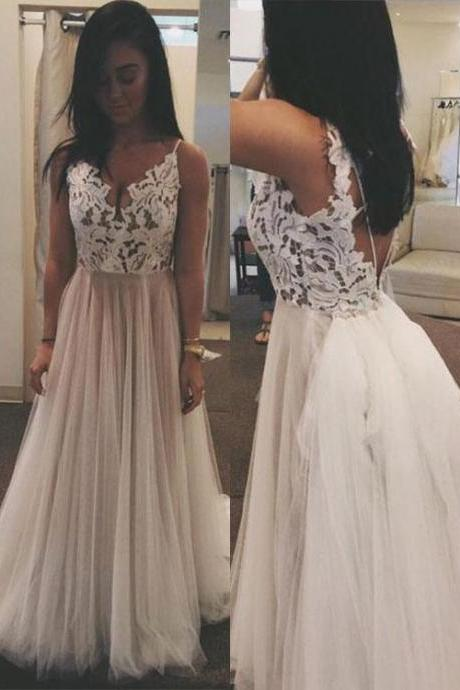 White V Neck Lace Tulle Long Prom Dress, Lace Evening Dress,Graduation Dress,Lace Long Prom Dress