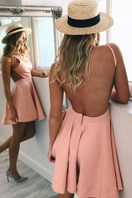 Stylish A Line Backless Short Prom Dress, Homecoming Dress,Party Dress,Prom Gowns,Formal Gowns