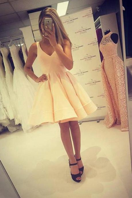 Cute A Line V Neck Short Prom Dress,Homecoming Dresses,Party Dress,Graduation Dress