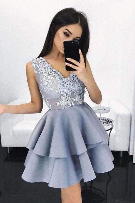 Charming Blue Lace Short Prom Dress, Cute Homecoming Dresses,Party Dress,Graduation Dress