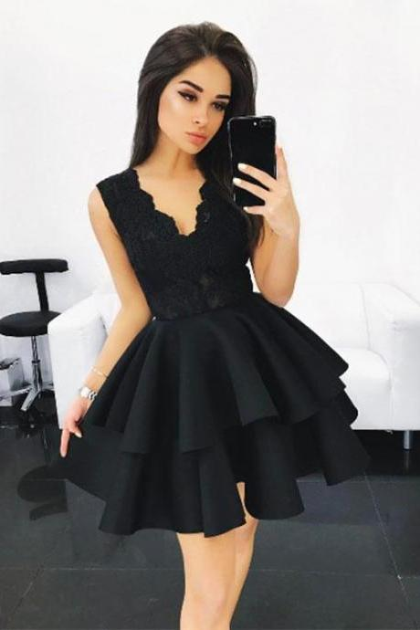 Black Lace A Line Short Prom Dress, Black Homecoming Dress, Cute Homecoming Dresses,Party Dress,Graduation Dress