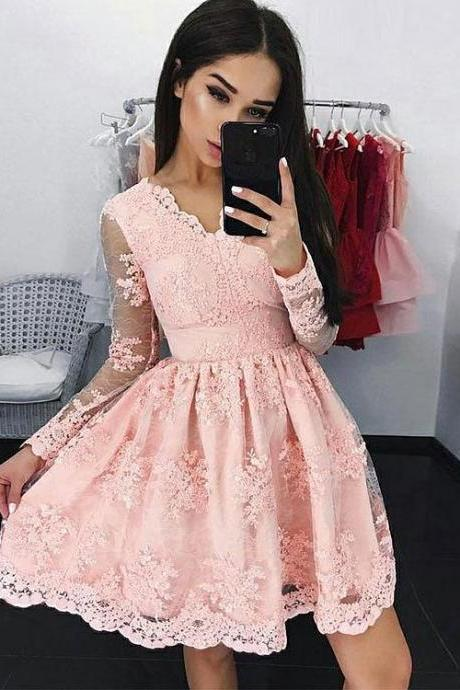 Beautiful Pink V Neck Lace Short Prom Dress, Lace Homecoming Dress,Party Dress,Graduation Dress,A-Line Prom Dresses