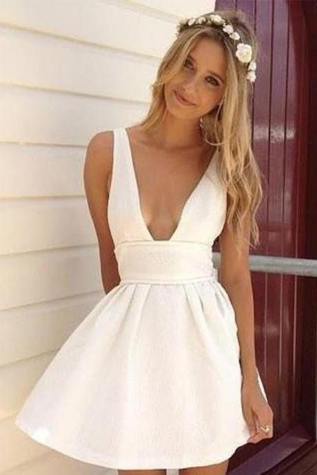 White V Neck Mini Dress, Cheap Prom Dress,Party Dress,Graduation Dress,A-Line Prom Dresses,Cheap Prom Dress