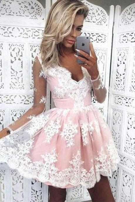 Cute White Lace Long Sleeve Short Prom Dress, Cute Homecoming Dress,Party Dress,Graduation Dress,A-Line Prom Dresses,Cheap Prom Dress