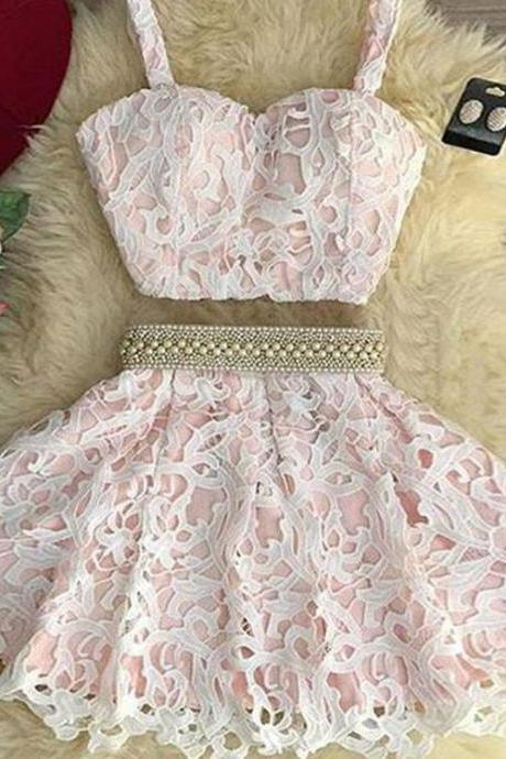 Cute Two Pieces Lace Short Prom Dress, Homecoming Dresses,Party Dress,Graduation Dress,A-Line Prom Dresses,Cheap Prom Dress