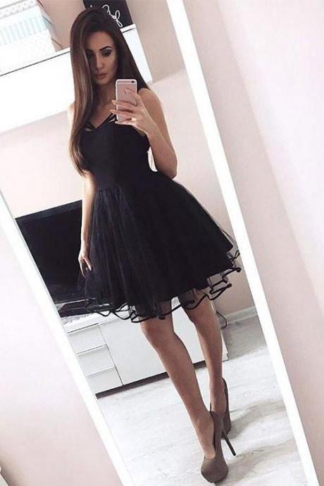 Black A Line Short Tulle Prom Dress, Homecoming Dress,Party Dress,Graduation Dress,A-Line Prom Dresses,Cheap Prom Dress