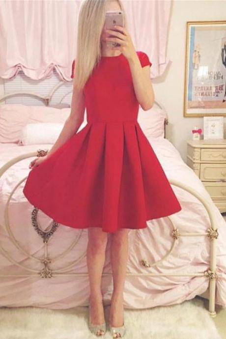 Simple Red Short Sleeve Mini Prom Dress, Homecoming Dress,Party Dress,Graduation Dress,A-Line Prom Dresses,Cheap Prom Dress